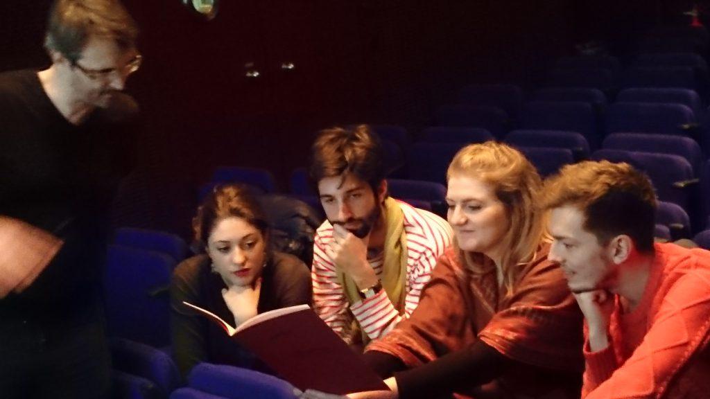 étudiants du CRR de Paris à l'Ircam, avec le compositeur Grégoire Lorieux